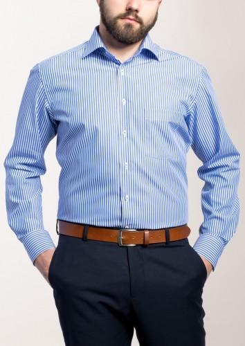 ETERNA MODERN FIT Langarmhemd blau-weiss gestreift