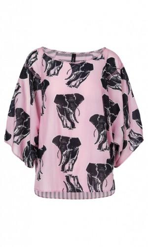 Weite Bluse mit Elefanten