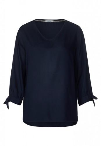 Uni Bluse mit V-Ausschnitt