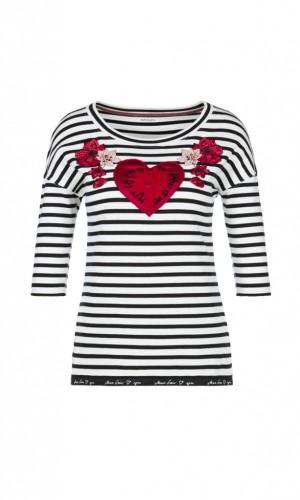 Geringeltes Baumwoll-Shirt mit Applikation