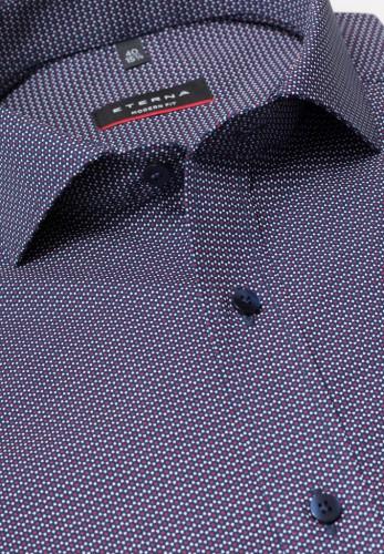ETERNA Langarm Hemd MODERN FIT Popeline blau bedruckt
