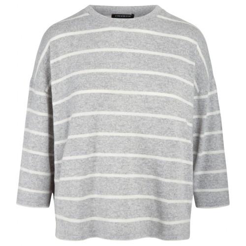 Strick-Pullover Brushed mit Rundhalsausschnitt